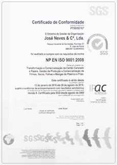 iso9001-2008 joseneves embalagens
