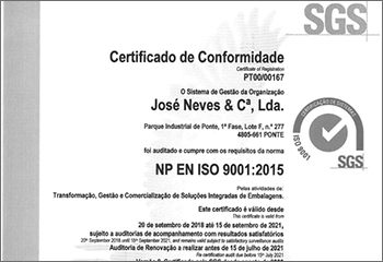jose neves embalagens certificacion iso9001